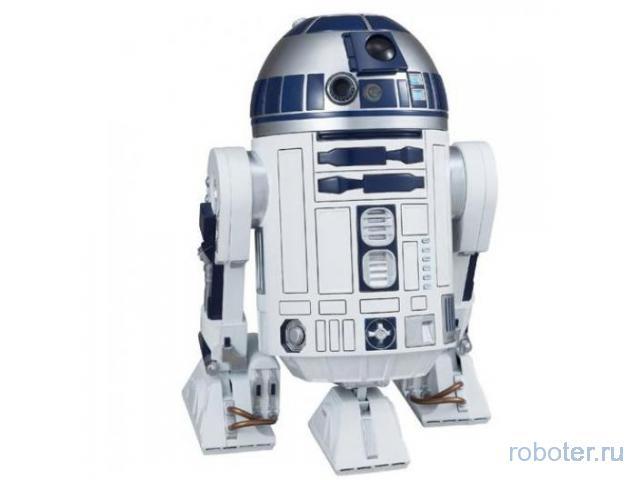 R2D2 ездит, вращает куполом, подсвечивается и издаёт 20 фраз и звуков